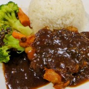 Chicken Steak in Black Pepper Sauce with Rice or Spaghetti - Tsuen Wan